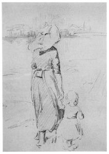 Moeder met kind aan het wandelen