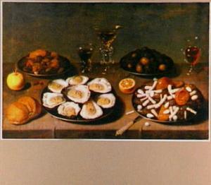 Stilleven met oesters en suikerwerk