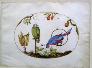 Perzik-, appel-, en perenboom en twee papegaaien