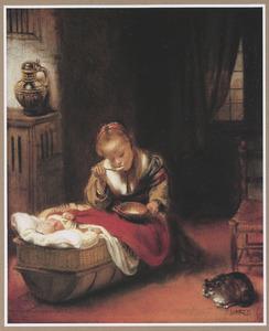 Pap etend meisje en een kat bij een wieg