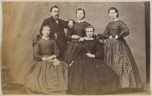 Portret van Roimer Wigersma (1809/1810-...) en zijn vier oudste dochters