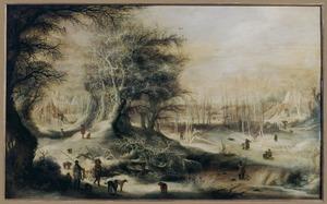 Winterlandschap met jagers op een landweg en kinderen spelend op een bevroren rivier