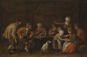 Interieur met boerengezelschap rondom een tafel