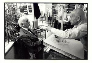 Paul Citroen tekent een portret van Kees Verwey