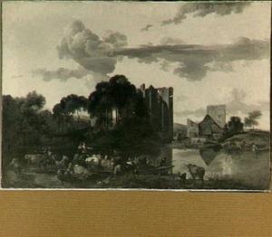Zuidelijk rivierlandschap met veerpont, op de achtergrond de ruïne van kasteel Brederode vanuit het zuidwesten