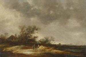 Weidelandschap met twee boerderijen in de achtergrond