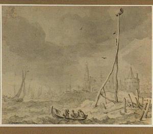 Fantasiegezicht op Amsterdam gezien vanaf het IJ, met de Schreierstoren en de Oude Kerk (allegorie van de maand de maand April)
