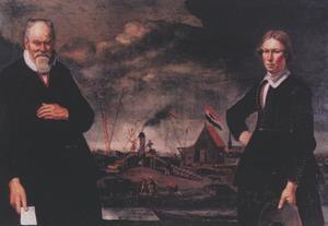 Portret van Cornelis de Lange (..-1664) en zijn zoon