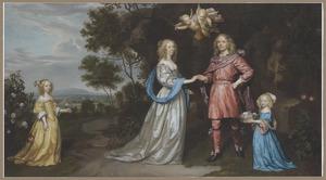 Portret van een familie, waarschijnlijk van Adriaan Pauw (1622-1697) en Cornelia Pauw (1626-1692)
