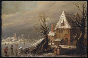 Winterlandschap met enkele figuren op een vaart in een dorp