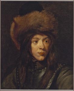 Portret van een onbekende jongen met een bontmuts en halsberg