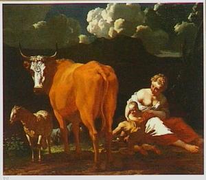 Herderin met kinderen, een hond, een koe en een schaap in een zuidelijk landschap