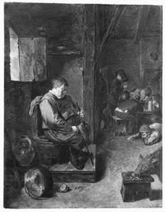 Herberg interieur met slapende man op een stoel en varkens