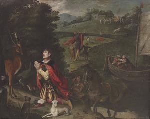 De bekering van de H. Eustachius, op de achtergrond scènes uit zijn leven