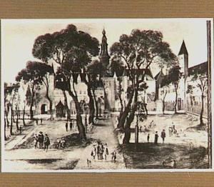 """Gezicht op het Abdijplein """" 't Hof van Zeeland"""" te Middelburg"""