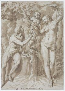 Eva biedt Adam de verboden vrucht aan