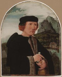 Portret van een man, ten halven lijve in een zwarte mantel, in een landschap