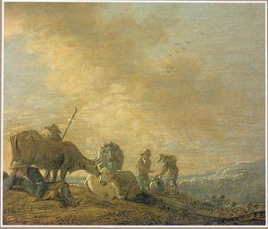 Heuvellandschap met herders en koeien