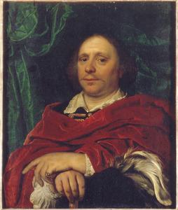 Portret van een man met een hoed met veren in zijn rechterhand