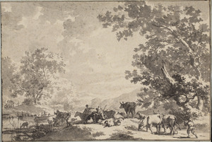 Heuvelachtig landschap met herders en vee