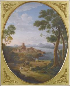 Italianiserend landschap met een herderin en haar vee, een havenstad in de achtergrond