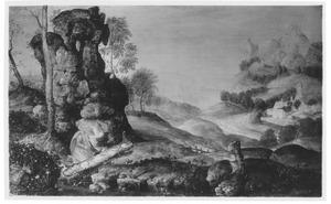 Landschap met de boetvaardige,  lezende H. Hiëronymus in de wildernis