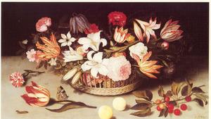 Bloemen in een mand, kersen, perziken, een anjer en een tulp op een stenen plint