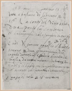 Schetsboekblad met notities van Stradanus,onder andere over ontvangst van betaling van Luigi Alamanni voor 'Het portret van Dante met het Inferno'
