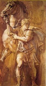 Man met paard aan de hand
