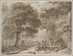 Saterfamilie in een bosrijke omgeving
