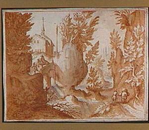 Rotslandschap met figuren en stenen brug
