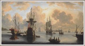 Een galei, een oorlogsschip en een koopvaardijschip samen met andere zeilschepen en roeiboten op rustig water, een stad aan de horizon