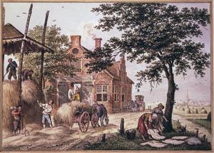 Hooimijt met figuren bij een paardenwisselplaats (de Herfst)
