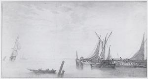 Zeegezicht met aanlegplaats met vissersboten