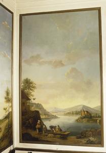 Gezicht op een meer met scène bij roeiboot die wordt geladen
