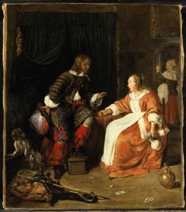 Jonge vrouw die een man een glas wijn aanbiedt