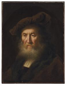 Portret van een oude man met grote muts