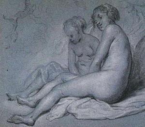 Twee zittende naakte vrouwen