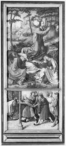 Christus in de Hof van Olijven met drie van zijn discipelen (boven); Josef met de bloeiende staf wordt belaagd door de afgewezen vrijers (onder)
