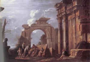 Klassieke ruïnes met figuren
