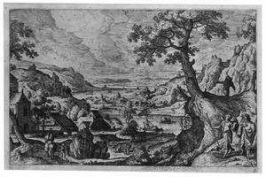 Landschap met Tobias en de engel Raphaël op reis (Tobit 6:1), en met Tobias die de vis vangt (Tobit 6:5)