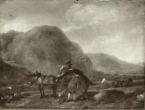 Italianiserend landschap met ezelkar