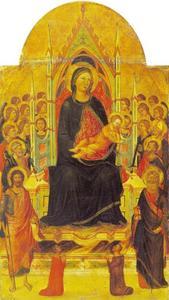 Maria en kind met engelen en heiligen