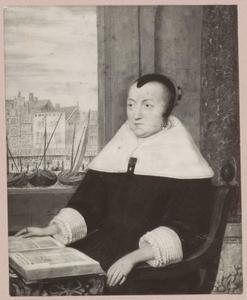 Portret van Catharina de Marez (1606-1684), met doorkijk naar de Warmoesstraat  in Amsterdam