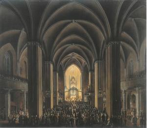 Interieur van de dom van Frankfurt verlicht tijdens Kerstmis