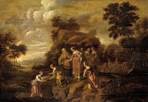 De dochter van farao vindt Mozes in het biezen mandje (Exodus 2:5-6)