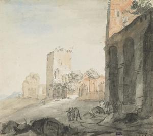 Rome, deel van de muur van Aurelius