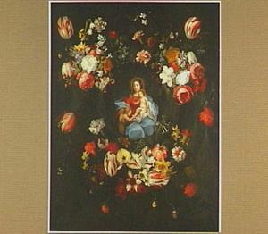 Bloemenkrans rond een voorstelling van Maria met Christus en Johannes de Doper als kinderen