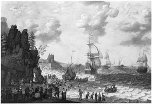 Kustlandschap met aankomst van een vloot