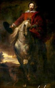 Portret van een ruiter te paard met zijn hoed in de hand